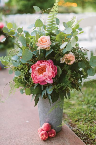 coral charm peonies with lots of greenery | Ashleigh Jayne