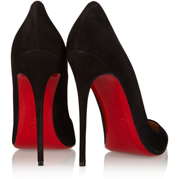 Christian Louboutin So Kate 120 suede pumps ($665) ❤ liked on Polyvore featuring shoes, pumps, heels, heels & pumps, pointy toe pumps, black suede pumps, black shoes and black slip on shoes