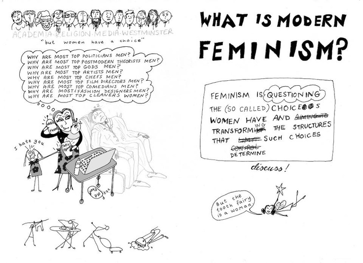 What is Modern Feminism? Feminism is questioning the (so called) choices women have and transforming the structures that determine such choices.  // Yes, and I would add that questioning structures goes beyond what's pictured. Why is American culture so predominant? Why are some women better off than others? Why is the dominant female paradigm white and Western? Why are females assumed to be cisgender?