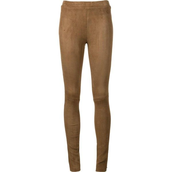 thirza-- heart of gold. Beau Souci leather leggings ($900) ❤ liked on Polyvore featuring pants, leggings, brown, leather legging pants, brown leggings, brown trousers, legging pants and brown pants