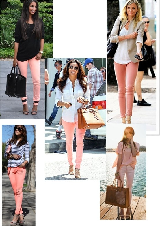 I just bought these peach pants. Ideas for wearing them.