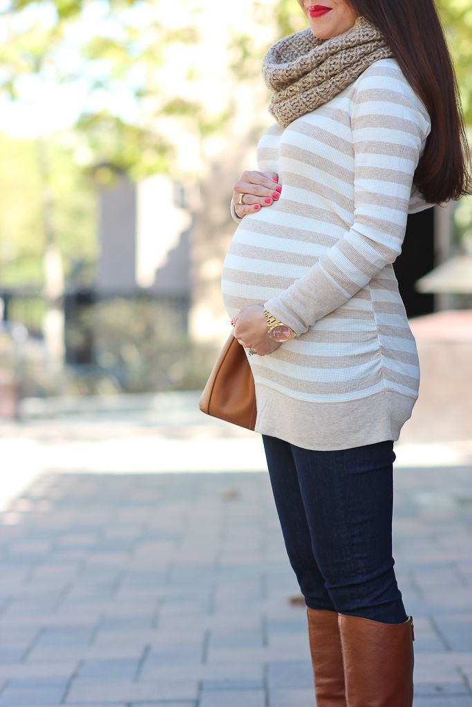 StylishPetite.com | Fall Neutrals, petite maternity outfits, striped tunic, dark skinny jeans, cognac riding boots, camel purse, chunky knit scarf, fall outfit, cold weather outfits, boots #BumpStyle @target