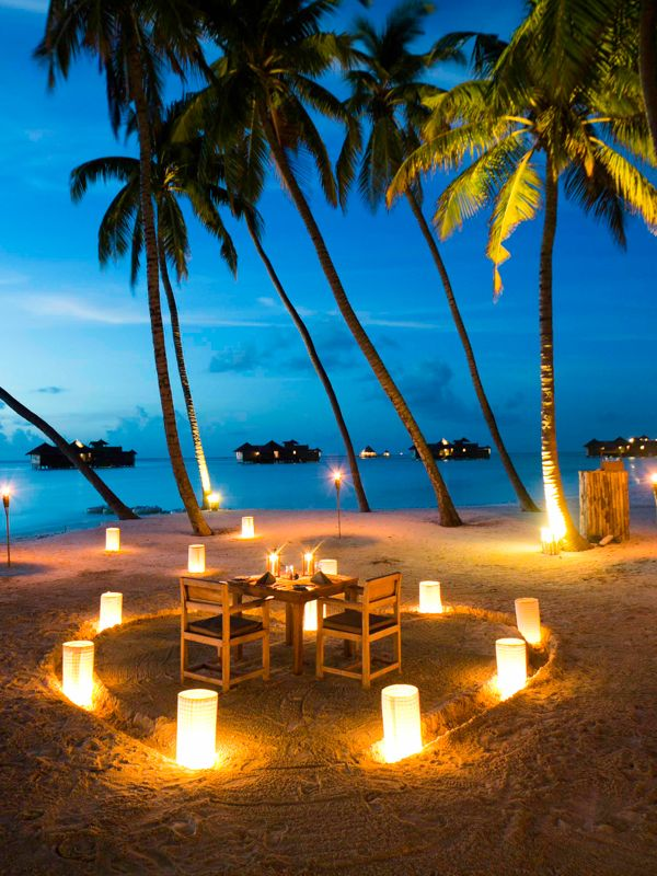 Romantic heart shape candle lit dinner for two - Maldives || Places to || #getlucky curated by your friends at luckybloke.com