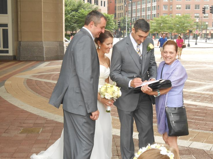 Me, with #Bride, Sarah-Jane, and #Groom, Kevin, with their #Maid-of-Honor, and Best #Man, witnessing their #marriage certificate, at their #wedding at Foster's Pavilion, (Boston Harbor Hotel ~ Entertainment Cruise Ships) #Boston, #MA