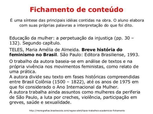 Exemplo de fichamento de conteúdo.  (Foto: Reprodução/Brasil Escola)