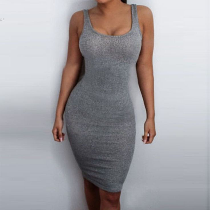 Summer 2016 Fashion Womens Solid Midi Female Party Dress Sleeveless Gray Color Knitting Sexy Package Hip Vest Dress Plus Size