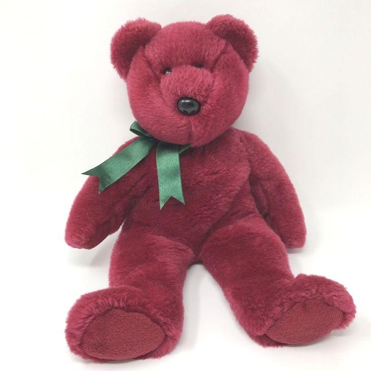 "1998 Ty Beanie Buddies Plush Teddy Bear Stuffed Animal 14"" Rare Cranberry Color #Ty"