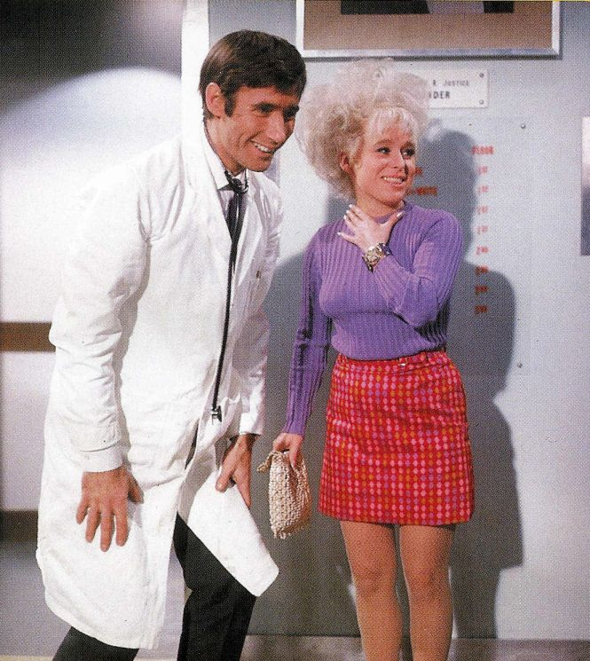 Jim Dale & Barbara Windsor on the set of Carry On Doctor