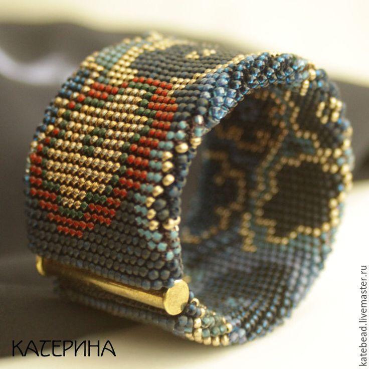 Купить браслет «Темные цветы», широкий браслет, браслет из бисера - разноцветный, бисерный жгут