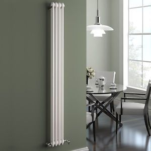 Traditional Cast Iron Style Vertical Radiator White 2 Column 1800 x 196 mm   eBay