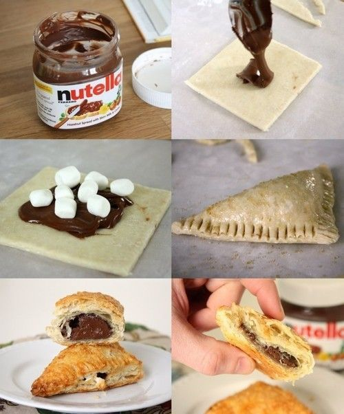 Nutella Marshmallow Empanada:  Place Nutella on puff pastry squares with mini marshmallows.  Seal edges, brush with egg wash. Bake at 400* for 15 minutes. Devour!