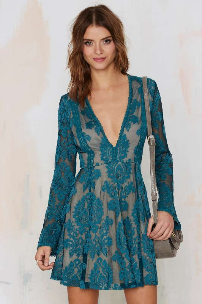 Romantics Lace Dress - Teal - Clothes | Back In Stock | Going Out | Fit-n-Flare | Dresses In Large please.