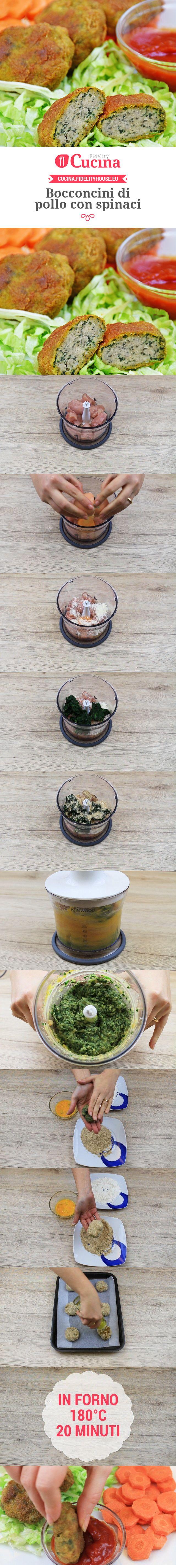 Bocconcini di pollo con spinaci
