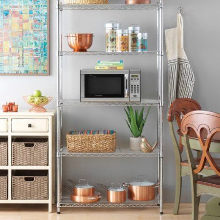 Commercial 32 Inch X21 Inch X14 Inch 4 Tier Corner Shelf Adjustable Wire Metal Shelving Rack Shelves Shelving Racks Pantry Shelving