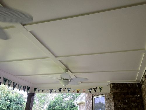 Porch ceiling 4x8 sheets of hardi board and trimmed it for Balcony ceiling design