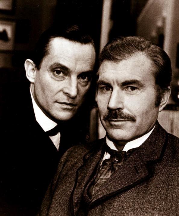 Jeremy Brett as Sherlock and David Burke as the original Watson in the Granada series