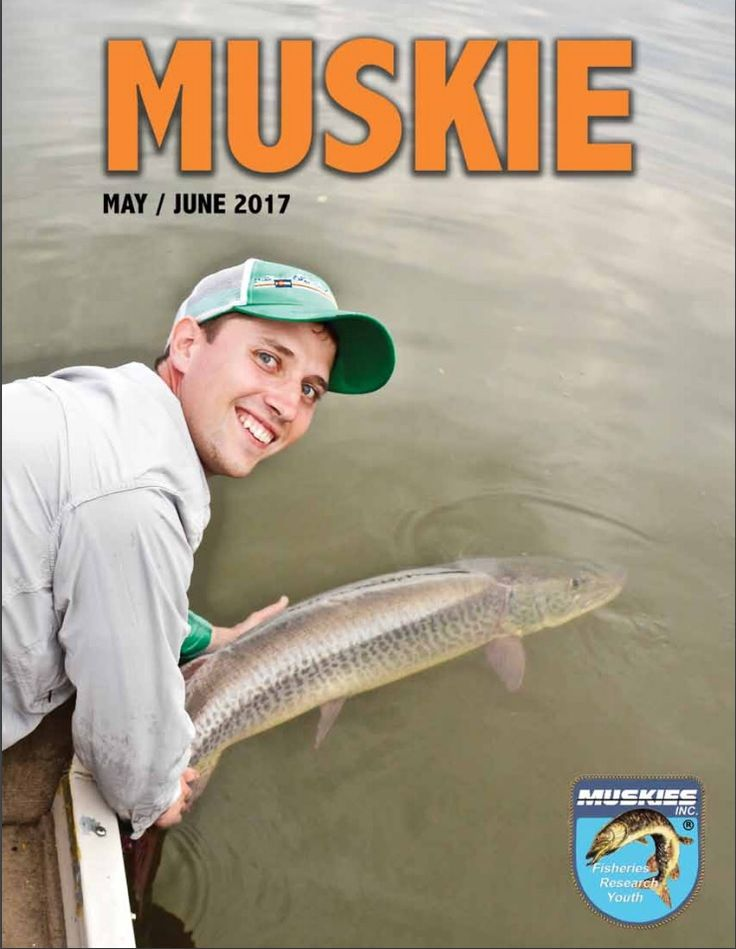 """May/June issue of Muskies Inc Magazine featuring Bear's Den Lodge with a story """"A Muskie for Father's Day"""" on pages 26 & 27."""