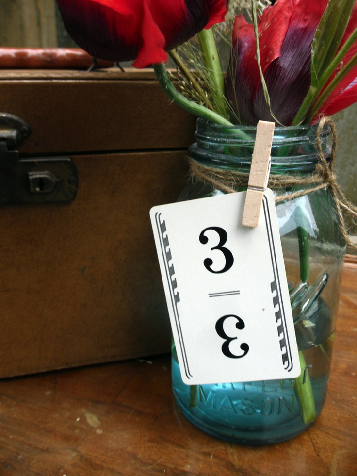 Vintage playing cards as table numbers