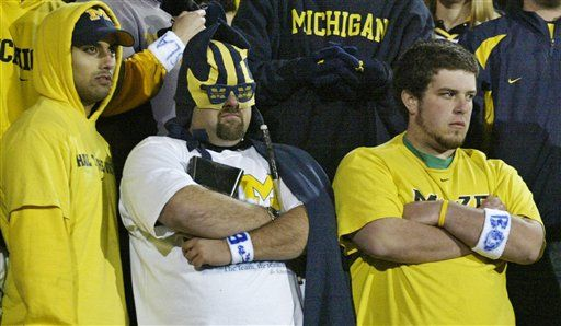 I hate Michigan....GO BUCKS:                                           Today we salute you, Mr. Delusional Michigan Fan. (Mr. Delusional Michigan Faaan!)    Season after season, year after year, you try to justify your absurdly high preseason ranking. (Grasping for straaaws!)    Season after season, you scramble with futile attempts at damage control when the Wolverines lose to a grossly less talented opponent. (How'd Northwestern score fifty-fouuurr!)