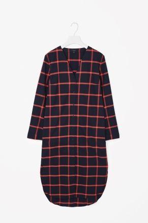 V-neck checked shirt dress