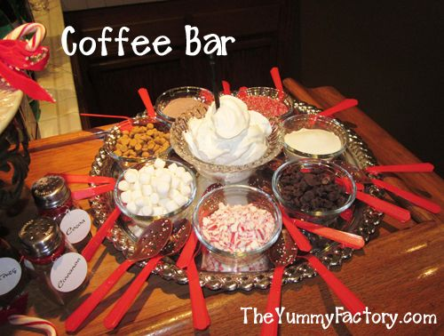 Christmas Coffee / Hot Chocolate Bar Items:   Chocolate Covered Spoons with Holiday Sprinkles   Whip Cream   Candy Canes  Marshmallows  Butterscotch  Red and White Sugar Crystals  In shakers: Cinnamon, Cocoa, and Nutmeg.