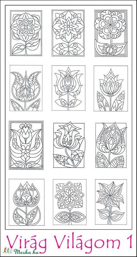 Virág Világom 1 - nyomtatható színező lapok, Képzőművészet , Magyar motívumokkal, Grafika, Rajz, Meska