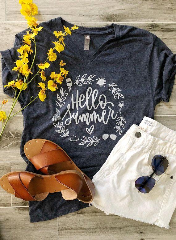 fd9c99e07 Hello Summer Tee, Summer T-Shirt, Summer Tshirt, Sunshine Tee, Summer  Fashion, Wine Shirt - V-neck V