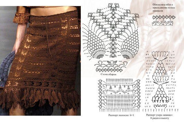 Patrones Crochet: Patron Crochet Falda-Pareo | Vestidos tejidos ...