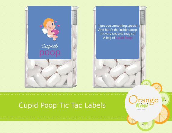 Cupid Poop Tic Tac Labels Valentine's Day Stickers