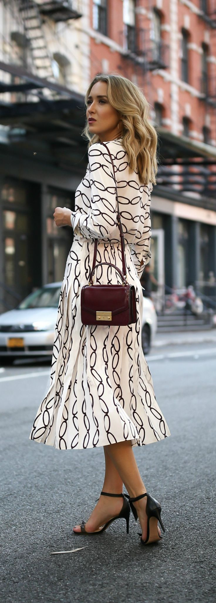Transitional Favorites // Patterned blouse, pleated midi skirt, black ankle strap sandals, burgundy handbag {Tory Burch, Alexandre Birman, workwear, creative office style}