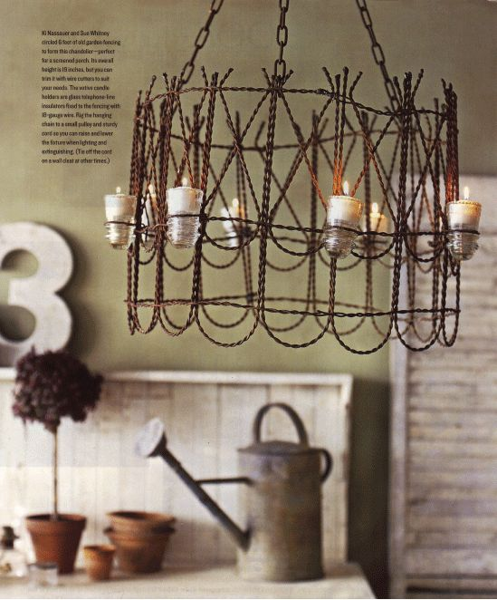 Wire fence light fixture ... Uploaded with Pinterest Android app. Get it here: http://bit.ly/w38r4m