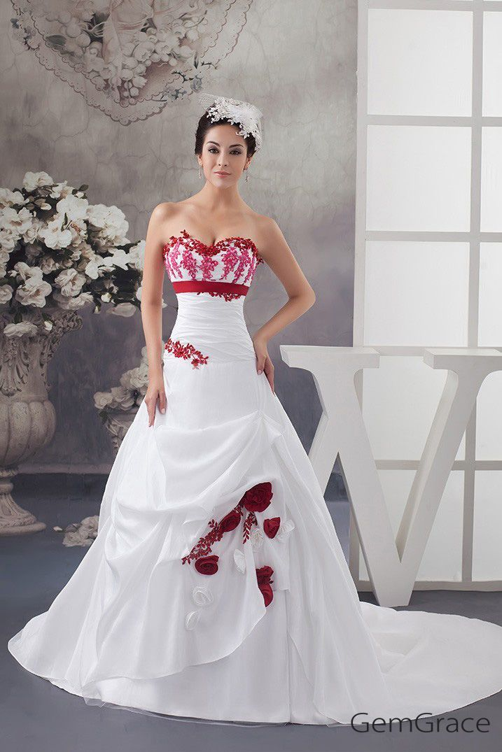f4adbbcde81 Custom Wedding Dresses White and Red Flowers Taffeta Lace Color Wedding  Dress Sweetheart  OPH1479 at GemGrace. View more special Wedding Dresses