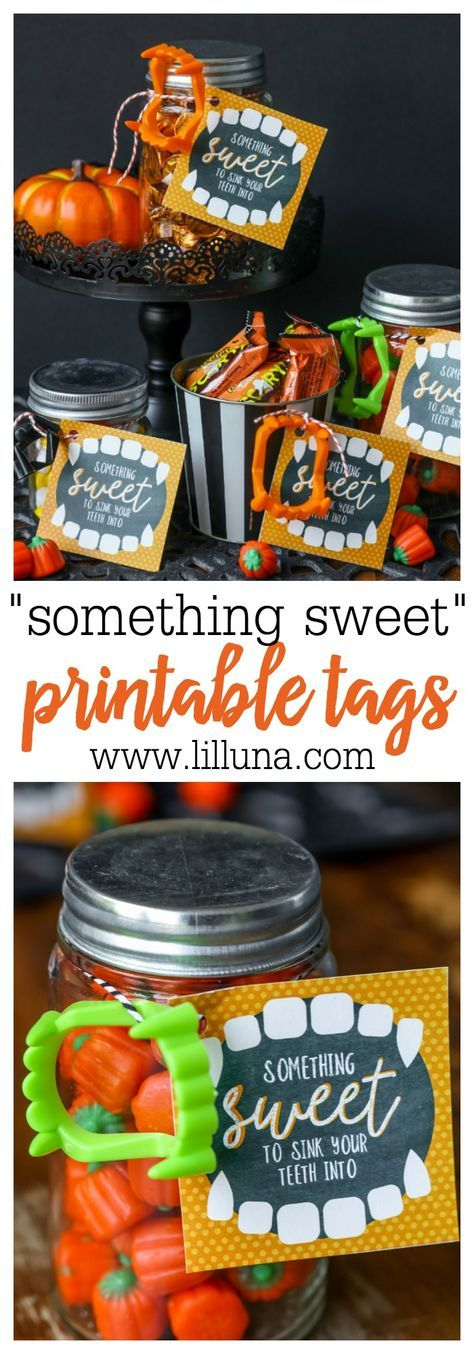 Something Sweet to Sink Your Teeth Into - cute and simple Halloween gift idea with FREE printable tags!