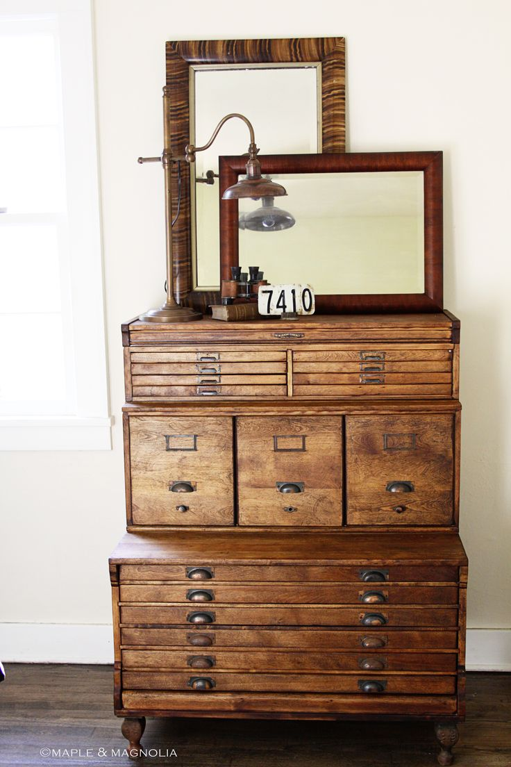 Beautiful old wood: Drawers Storage, Vintage Woods, Cabinets Makeovers, Antiques Chest, File Cabinets, Modern Industrial, Industrial Design, Art Supplies, Printer Drawers