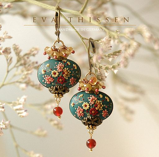 https://flic.kr/p/djd7F4 | SAKURA elegant handmade earrings with an oriental feel. Made to order | A piece of turquoise sky is the background of carnival of cherry blossoms, or 'Sakura' in Japanese. The appliqued piece of polymer clay is then nested in an antiqued brass base, crowned with vintage style brass caps and quality Grossular rondelles that are attached using artisan oxidised copper wire. Other pins used are of 14K gold-filled and/or 24K gold vermeil over sterling silver. The…