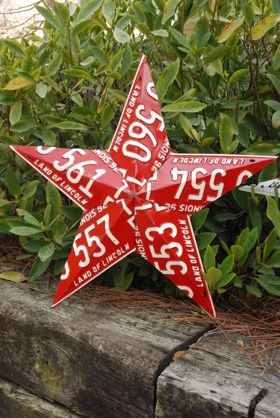 5 Point Recycled License Plate Star Decoration