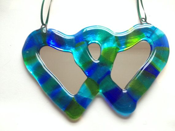 Valentine's Day hearts entwined fused glass by AndyBullGlassArt