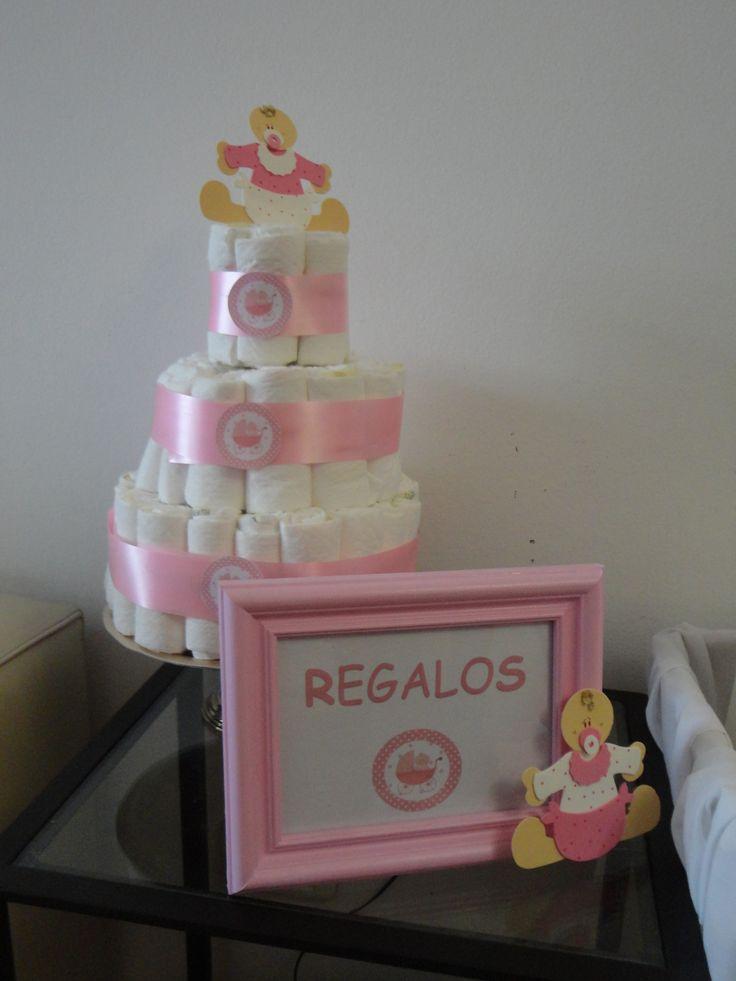 Torta De Pañales Baby Shower Y Cuadro Para Lugar De Regalos