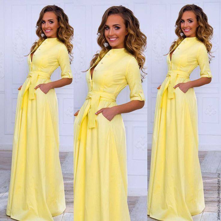 Купить Платье сарафан из хлопка - желтый, однотонный, платье летнее, Платье нарядное, длинное платье