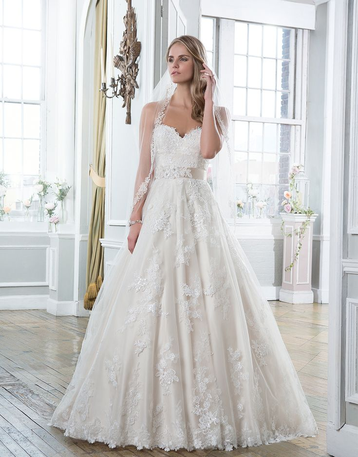 Lillian West Style 6386 Venice Lace Embroidered And Tulle Ball Gown Featuring