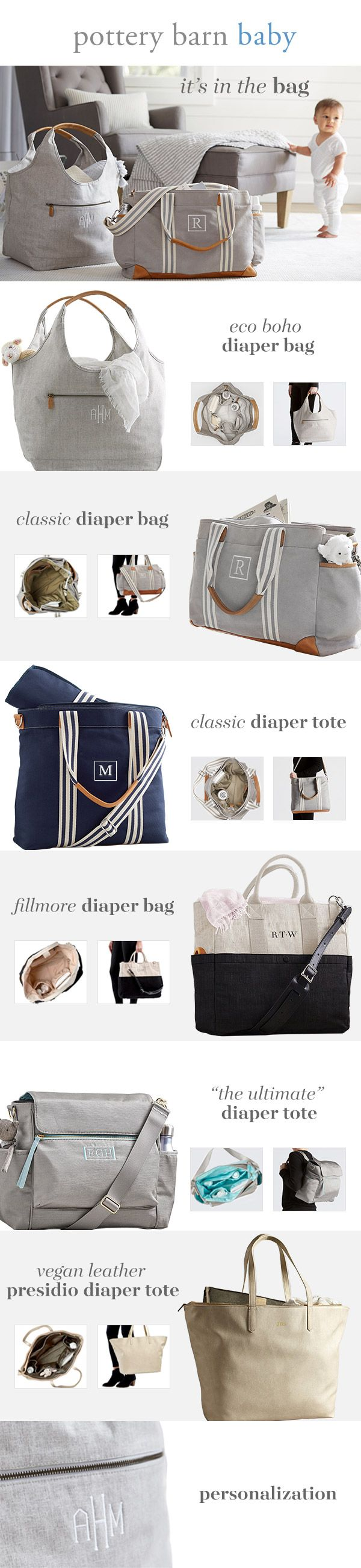 Trying to find the perfect diaper bag? Take a closer look at our seven most popular bags, made with helpful features like changing pad inserts and cross-body straps.