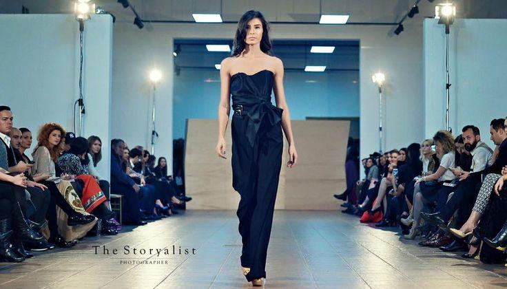 Prefall 16 black jumpsuit runway model