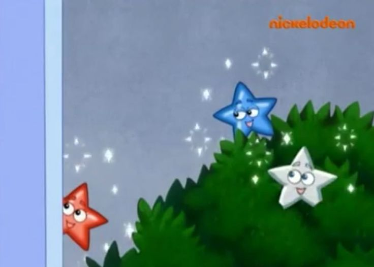 Red Star, Blue Star and White Star behind the bushes on ''Best Friends''