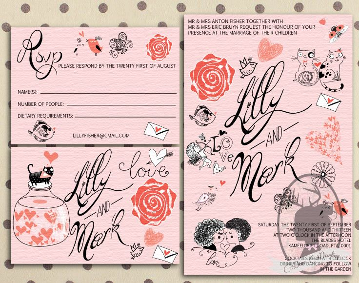 Pink & Black | Wedding invitation stationery | Custom illustrated Doodle | www.deerdarling.co.za