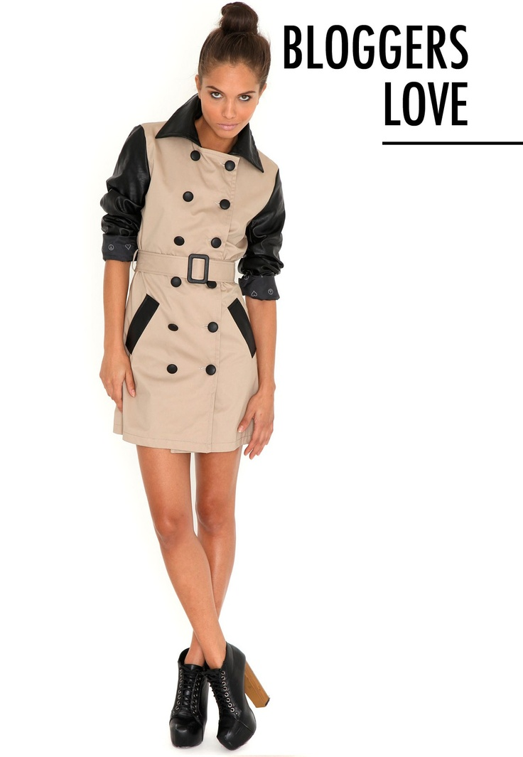 Jainy Leather Contrast Trench Coat @missguided