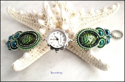Peacock Green and Silver Hand Beaded Geneva Soutache Watch | specialtivity - Jewelry on ArtFire