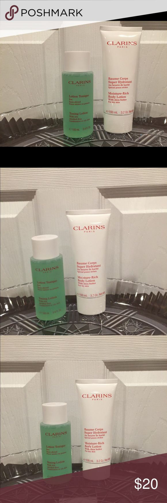 🆕🔥2. Pc Clarins Body kit!! Brand New! 🔥🆕 Toning Lotion Combination or Oily skin,  3.4 Oz,   Moisturizer Rich body Lotion 3.2 Oz clarins Makeup Face Primer