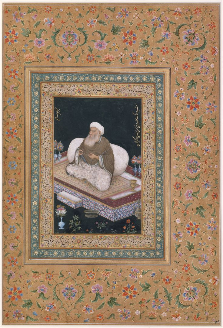 """""""Portrait of Shaikh Hasan Chishti"""", Folio from the Shah Jahan Album Object Name: Album leaf Date: recto and verso: early 19th century Geography: India"""