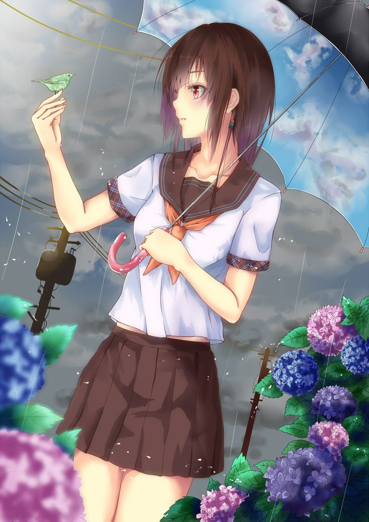 ✮ ANIME ART ✮ in the rain. . .rainfall. . .raindrops. . .umbrella. . .clouds. . .flowers. . .bird. . .flowers. . .school uniform. . .seifuku. . .sailor uniform. . .cute. . .kawaii