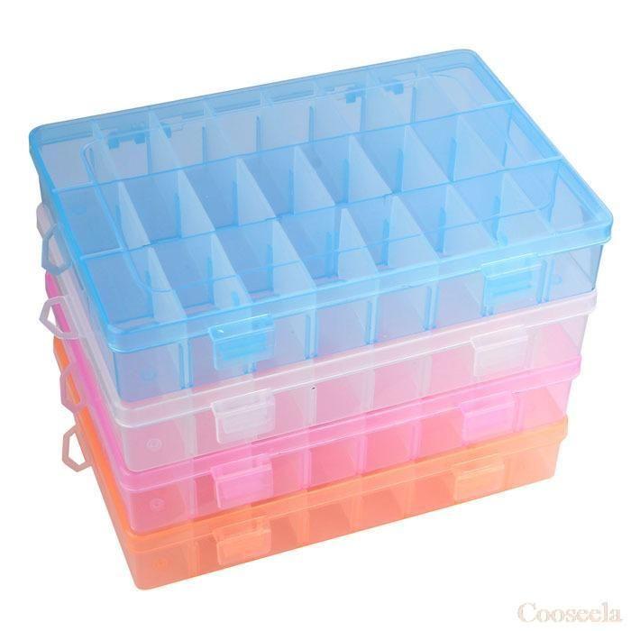 nieuwe verstelbare 24 compartiment plastic opbergdoos sieraden oorbel geval gratis verzending& groothandel $3.47 (free shipping)